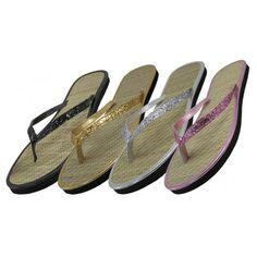 3f0c55e76 48 Units of Women s Glitter Straw Insole Flip Flops - Women s Flip Flops