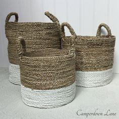 White Dipped Raffia Storage Baskets