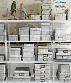 Covering boxes in old maps & newspapers [Source: Country Living US, Feb 2013]