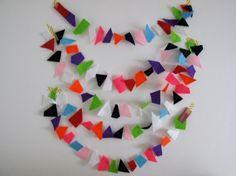 Confetti Garland // Rainbow Geometric Felt Party by StampAndStitch Geometric Shapes, Confetti, Garland, Felt, Rainbow, Stitch, Party, Etsy, Color