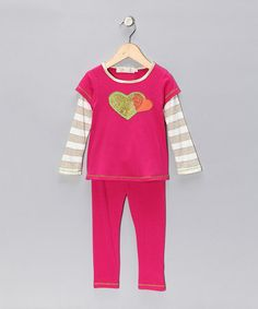 Take a look at this Pink Heart Stripe Layered Tunic & Leggings - Toddler & Girls by Love Loves Luv on #zulily today!