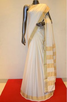 Milk White Jacquard Pure Mysore Silk Crepe With Zari Border Product Code: AB210607 Online Shopping: http://www.janardhanasilk.com/Saree-Collections/Mysore-Silk-Crepe-Saree?product_id=3718&limit=25