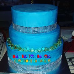 Blue Tiered Crystal Cake