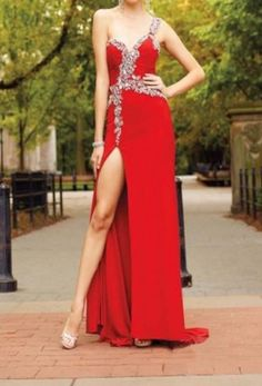 New Arrival One Shoulder Beading Red Long Prom Dresses A Line Prom Dresses, Prom Party Dresses, Sexy Dresses, Evening Dresses, Bridesmaid Dresses, Formal Dresses, New Party Dress, Black Prom, Evening Party