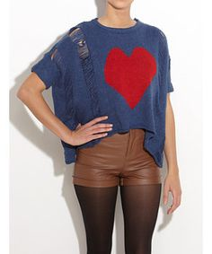Potential DIY tee: dye, slash and crop an oversized man's tee, sew on a heart motif... voila! #DIY