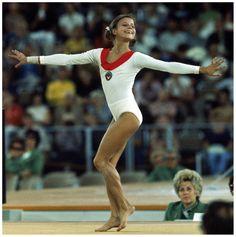Russian gymnast Olga Korbut performing floor excercises at Summer Olympics 1972