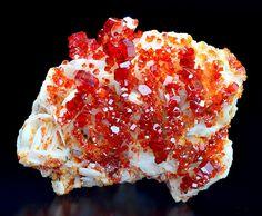 Vanadinite crystals on white Barite.