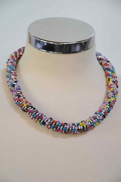 A lovely multi-coloured stretch necklace from Brigid Foley that would go with lots of clothes.