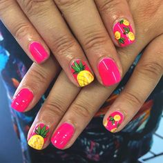 Resultado de imagen para pineapple nails Tap the link now to find the hottest products for Better Beauty! Pineapple Nail Design, Pineapple Nails, Pineapple Fruit, Nail Art Designs, Summer Nail Designs, Nail Designs Hot Pink, Fruit Nail Designs, Beach Nail Designs, Bright Summer Nails
