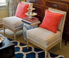 asian garden stool with coral pillows Chateau Hotel, Coral Pillows, Ceramic Garden Stools, New Home Designs, Decorating Blogs, Living Spaces, Living Room, Blue And White, White Rug