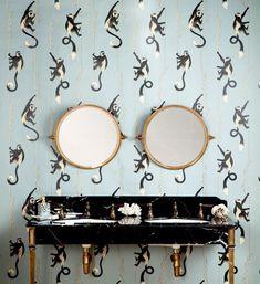 Conservation wallpaper by House of Hackney * Wonderwall * The Inner Interiorista Miami Wallpaper, Fabric Wallpaper, Pattern Wallpaper, Office Wallpaper, Print Wallpaper, Bathroom Trends, Bathroom Interior, Bathroom Ideas, Guest Bathrooms