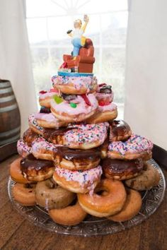 doughnut cakes | cake was wrapped in brown ribbon and topped with a jeweled tree cake ...