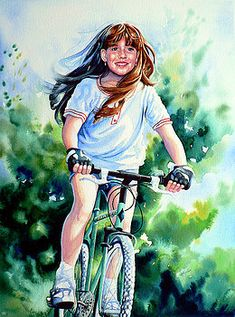 Shop online for prints of CAREFREE SUMMER DAY painting of a girl riding a bike. Commission a child portrait from photo by artist Hanne Lore Koehler online Bicycle Painting, Bicycle Art, Watercolor Portraits, Watercolor Paintings, Watercolor Ideas, Watercolor Artists, Watercolors, Indian Women Painting, Indian Paintings