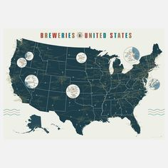 Breweries Of The US 39x27, $25, nearly 7 sq feat the map shows locations of over 1,000 american breweries! talk about  road trip map!