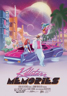 This is the artwork done for Killstarr's debut EP titled 'Memories' which is available on Bandcamp. The idea was to create a summer-vibe scene on an alien planet while introducing some recognizable 80s tropes from the likes of Miami Vice, Silverhawks, Automan, Heavy Metal 1981) etc