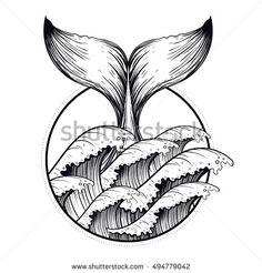Whale tail in sea waves, boho blackwork tattoo. Ocean line a.- Whale tail in sea waves, boho blackwork tattoo. Ocean line art drawing. Vector i Whale tail in sea waves, boho blackwork tattoo. Ocean line art drawing. Vector i… – - Tattoo Design Drawings, Tribal Tattoo Designs, Art Drawings, Sketch Tattoo, Tribal Tattoos, Tatoos, Blackwork, Illustration Vector, Vector Art