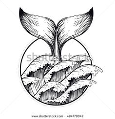 Whale tail in sea waves, boho blackwork tattoo. Ocean line art drawing. Vector illustration, nautical symbal, tattoo design, sketch isolated on white for t-shirt print, poster, textile.