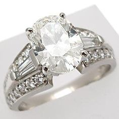 A JAFFE 2.01CT H/SI1 OVAL CUT DIAMOND ENGAGEMENT RING SOLID PLATINUM