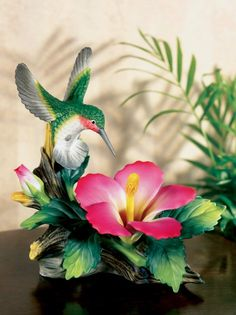 Andrea's Birds Porcelain Figurine - Hummingbird With Hibiscus