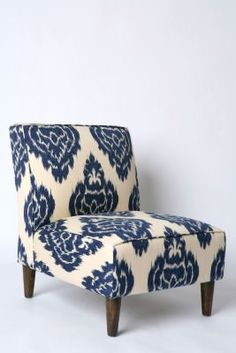 blue and white printed chair