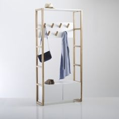 Compo Coat and Shoe Storage Unit LA REDOUTE INTERIEURS 7 hooks and shelf/shoe cupboard at the bottom. A mix of natural oak and white lacquered MDF, this multi-purpose unit is practical and versatile! Shoe Storage Cupboard, Coat And Shoe Storage, Shoe Storage Unit, Hallway Storage, Storage Sets, Storage Boxes, Home Furnishing Accessories, Home Furnishings, Hallway Furniture