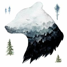 Watercolor Mountain Bear Peel and Stick Giant Wall Decal