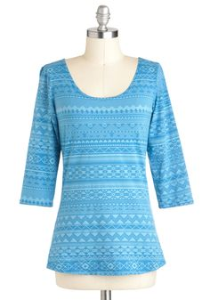 Meet Me in Moab Top - Blue, Casual, 3/4 Sleeve, Print, Mid-length