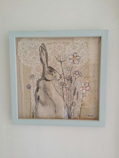 Emily Henson textile art wildflower meadow hare freemotion embroidery. Vintage fabrics and lace. www.facebook.com/bibliboo