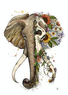 Perfect Elephant illustration art done by artist Dino Nemec Art Drawings Sketches, Animal Drawings, Cute Drawings, Elephant Drawings, Elephant Artwork, Animal Skull Drawing, Elephant Skull, Elephant Wallpaper, Random Drawings