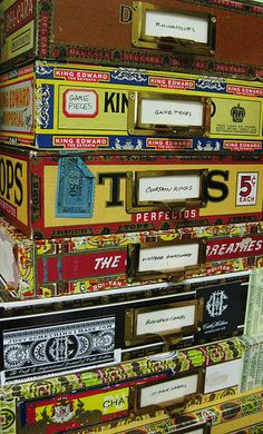 """Cigar Box Storage--I recently walked into a vintage store and bought several cigar boxes because they reminded me of my grandfather, he used to give me his empty ones to store my """"treasures"""" in."""
