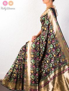 #Black #Katan #Silk #Cutwork #Brocade #Handwoven #Saree #HolyWeaves Banarasi Sarees, Silk Sarees, Saris, Indian Attire, Indian Wear, Indian Dresses, Indian Outfits, Beautiful Saree, Beautiful Dresses