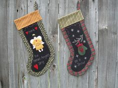 "Primitive applique Christmas Stocking PATTERN ""Angel & Mitten"""