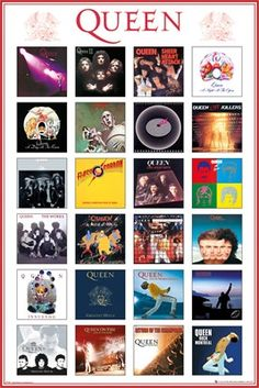 This maxi poster showcases the covers of the band's album. You will find here unmissable albums such as Innuendo, Live at Wembley, Sheer Heart Attack, Queen II and the Return of the Champions. Which is your favourite Queen album? Our Maxi Poster Discografia Queen, Queen Band, I Am A Queen, Rock And Roll, John Deacon, Queen Greatest Hits, Albums Queen, Queen Album Covers, Rock Album Covers