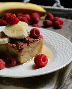 Croissant French toast casserole with bananas and raspberries recipe