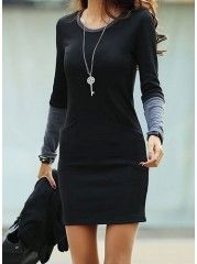 Chic Round Neck Cotton Fashionable Knitted-dress