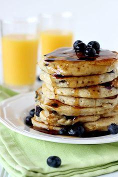 Blueberry and Peach Yogurt Buttermilk Pancakes