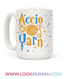 """With a funny Harry Potter mug like this you'll be able to knit anywhere with a quick spell """"Accio yarn!"""" This nerdy knitting mug is perfect for fans of knitting mugs, knitting quotes, nerdy mugs, and gifts for nerds. You'll be able to knit scarves for Christmas dinner at Hogwarts."""