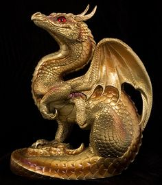 Scratching Dragon - Gold Painted Fantasy Figurine / Statue $191.00