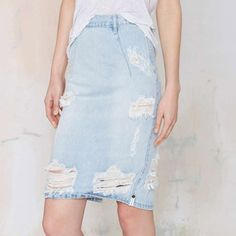 New Summer Women Ripped Holes Denim Skirt Large Slim Blue Hole Back Split Denim Women Package Pencil Skirt M-353 Oh Yeah Visit our store