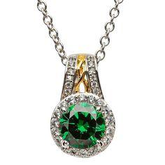 Silver Green CZ Halo Pendant #Shanore #Emerald