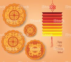 Chinese mid autumn festival background with lantern and cake royalty-free stock…