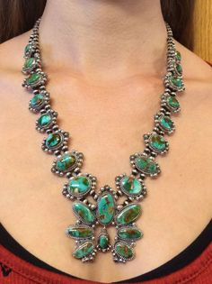 ~FRED CHARLEY~ Pilot Mt.Turquoise & Sterling Squash Blossom Necklace & Earrings | Jewelry & Watches, Ethnic, Regional & Tribal, Native American | eBay!