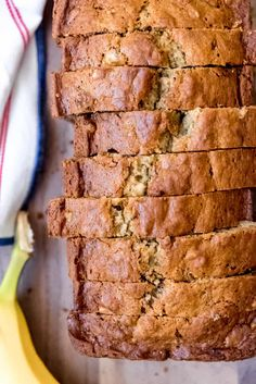 Super moist, EASY, and delicious, this is the Best Banana Bread recipe ever! It's our favorite way to use up overripe bananas and it freezes really well too! #bananas #bananabread #quickbread #moist #easy #classic #homemade #fromscratch #walnuts #muffins #breakfast #brunch #snack #ripe One Bowl Banana Bread, Homemade Banana Bread, Healthy Banana Bread, Best Banana Bread, Quick Bread Recipes, Cooking Recipes, Easy Recipes, Banana Bread Recipes, Overripe Bananas