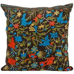 Brown Floral 20 x 20-inch Decorative Pillow