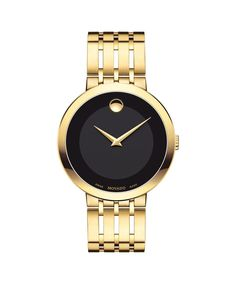 Movado Men's Esperanza Yellow Gold PVD Stainless Watch with Black Museum Dial 0607059 Stainless Steel Watch, Stainless Steel Bracelet, Movado Mens Watches, Men's Watches, Watches Online, Fashion Watches, Male Watches, Dress Watches, Black Museum