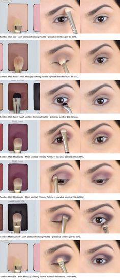 Tutorial: Roxinho mit einer Palette Meet Matt (e) Trimony - Make up - Makeup Skin Makeup, Eyeshadow Makeup, Makeup Brushes, Mac Makeup, Eyebrow Makeup, Chanel Makeup, Smoky Eyeshadow, Makeup Art, Makeup Inspo