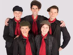 """In the production of """"Mary Poppins"""" at Kelsey Theatre, April 16-May 1, 2016, Chimney sweeps, top row, from left, Mary Rose Brendel, Matthew Muccigrossi (as Bert), Matthew Snyder; bottom row, Marissa Marciano, left, and Taylor Bell."""