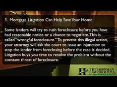 Here are 5 Benefits of Mortgage Loan Litigation. Find out more about The Hoffman Law Group, P.A. at http://www.thehoffmanlawgroup.com