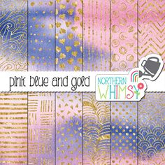 Pink, Blue, and Gold Digital Paper - Watercolor backgrounds with gold foil patterns - pink and blue scrapbook paper - commercial use