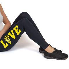 e40b638592a61 Girls Lacrosse Printed Leggings (Thigh) - LOVE with Lacrosse Stick Head    Girls Lacrosse Apparel   Adult 2XL, Black/Yellow Print